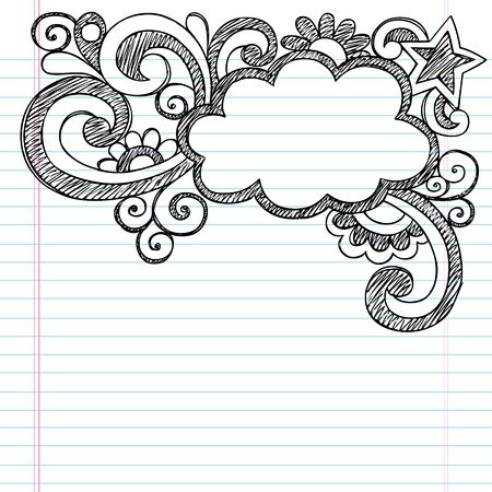embellishments: Cloud Frame Border Back to School Sketchy Notebook Doodles- Vector Illustration Design on Lined Sketchbook Paper Background Illustration