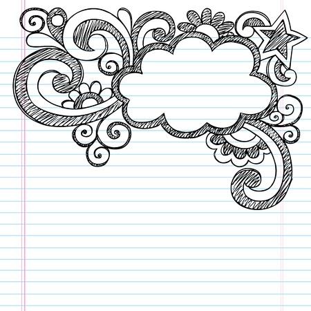 Cloud Frame Border Back to School Sketchy Notebook Doodles- Vector Illustration Design on Lined Sketchbook Paper Background Vectores