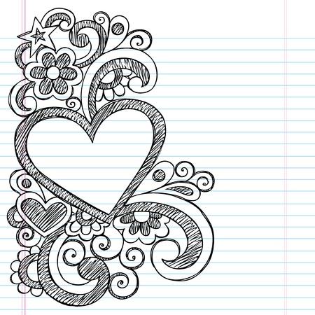 Heart Frame Border Back to School Sketchy Notebook Doodles- Vector Illustration Design on Lined Sketchbook Paper Background Vectores