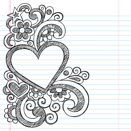 Heart Frame Border Back to School Sketchy Notebook Doodles- Vector Illustration Design on Lined Sketchbook Paper Background Vector