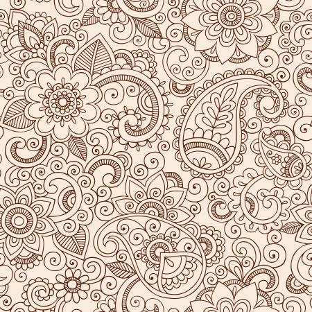 Henna Mehndi Tattoo Doodles Seamless Pattern- Paisley Flowers Vector Illustration Design Elements Vectores