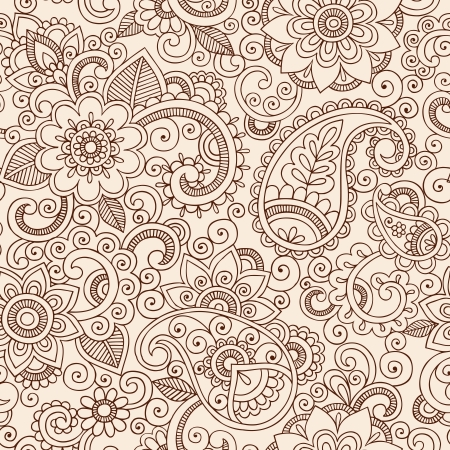 Henna Mehndi Tattoo Doodles Seamless Pattern- Paisley Flowers Vector Illustration Design Elements Illustration