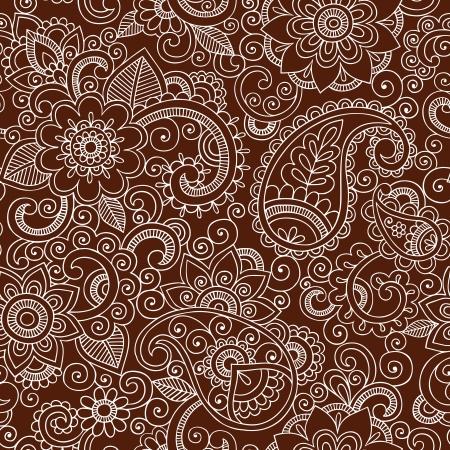 ヘナ ペイズリー花のシームレスなパターン-一時的な刺青入れ墨落書き-抽象的な花のベクトル イラスト デザイン要素