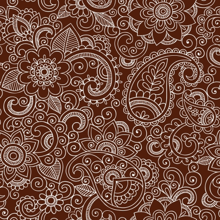 Henna Paisley Flowers Seamless Pattern- Mehndi Tattoo Doodles- Abstract Floral Vector Illustration Design Elements