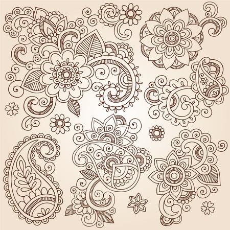Henna Paisley Flowers Mehndi Tattoo Doodles Set- Abstract Floral Vector Illustration Design Elements