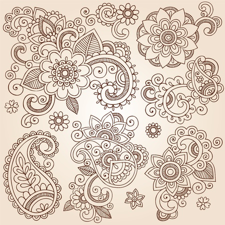 Henna Paisley Flowers Mehndi Tattoo Doodles Set- Abstract Floral Vector Illustration Design Elements