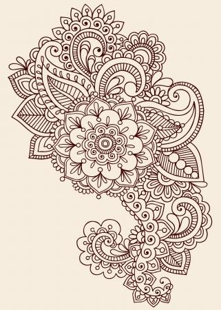 ヘナ ペイズリー花一時的な刺青入れ墨落書きデザイン-抄録の花