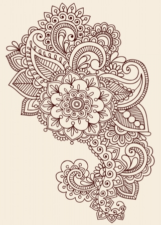 Henna Paisley Flowers Mehndi Tattoo Doodles Design- Abstract Floral  Vector