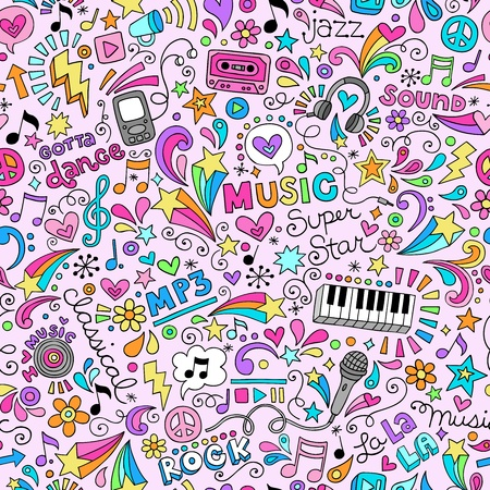 Music Groovy Doodles Illustration Hand-Drawn Design Elements Vector