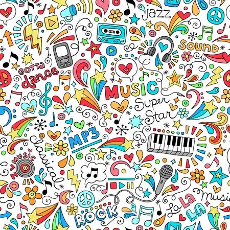 Groovy Music Vector Doodles del diseño dibujado a mano elementos Ilustración de vector