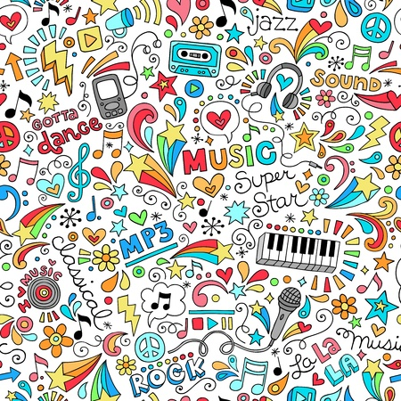 60s: Music Groovy Doodles Vector Illustration Hand-Drawn Design Elements Illustration