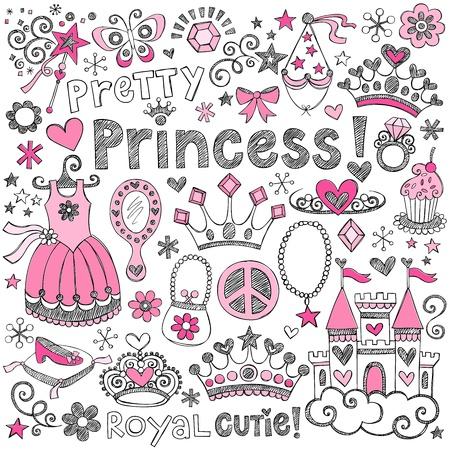 princesa: Dibujado a mano Sketchy Fairy Tale Princess Tiara Crown Notebook Doodle Elementos de diseño situado ilustración vectorial