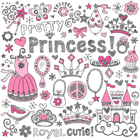 princess: Disegnati a mano Sketchy Fairy Tale Principessa Tiara Crown Elementi di design per notebook Doodle set illustrazione vettoriale