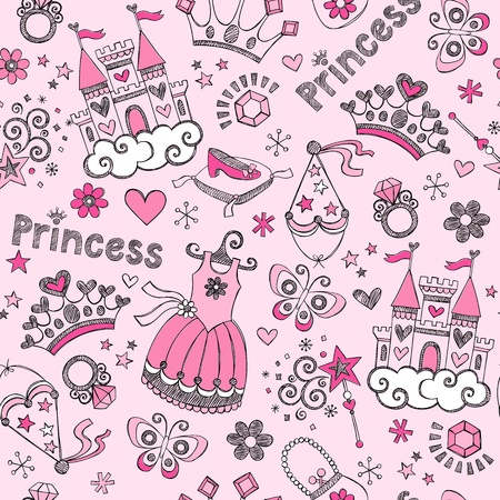 Fairy Tale Princess Tiara Seamless Pattern- Hand-Drawn Notebook Doodle Design Elements Set Vector Illustration Vettoriali