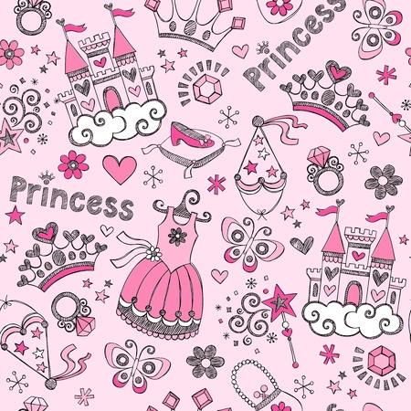heart and crown: Fairy Tale Principessa Tiara Seamless Pattern-Hand-Drawn Notebook Design Elements Set Doodle illustrazione vettoriale
