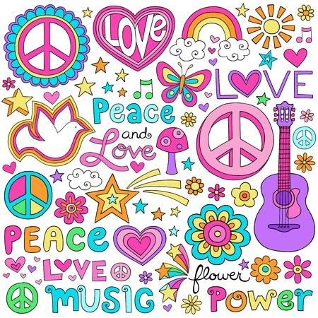 平和と愛フラワー パワー グルーヴィーなサイケデリックなノートの落書きセット  イラスト・ベクター素材