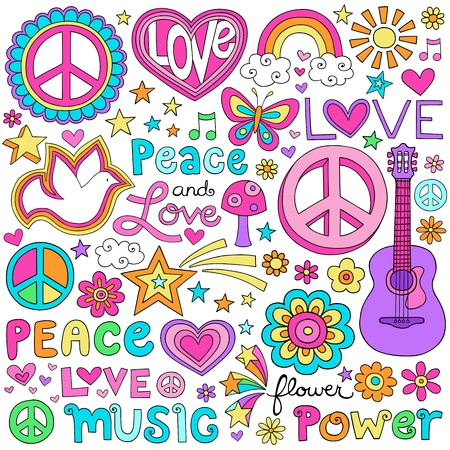 peace sign: Peace and Love Flower Power Groovy Psychedelic Set Notebook Doodles Stock Illustratie
