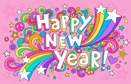 Happy New Year Groovy Psychedelic Notebook Doodles  Card 일러스트