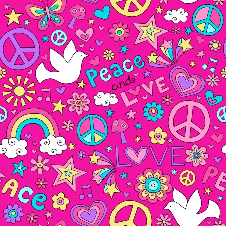 Seamless Pattern Doves Groovy Peace Notebook Doodle Design- Hand-Drawn Vector Illustration Background Vector