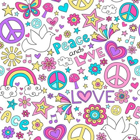 signo de paz: Patrón sin fisuras palomas paz maravilloso Notebook Doodle diseño dibujado a mano ilustración vectorial de fondo Vectores