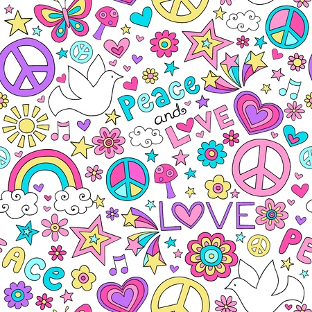 sixties: Seamless Pattern Doves Groovy Peace Notebook Doodle Design-Hand-Drawn Vector Illustration Hintergrund