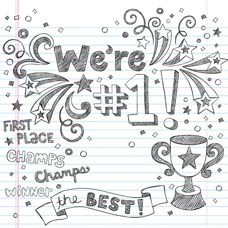 スポーツのトロフィの勝者 - 我々 はナンバーワン再に戻る学校大ざっぱなノートの落書き-ベクトル イラスト デザイン要素背景に並ぶスケッチ用紙