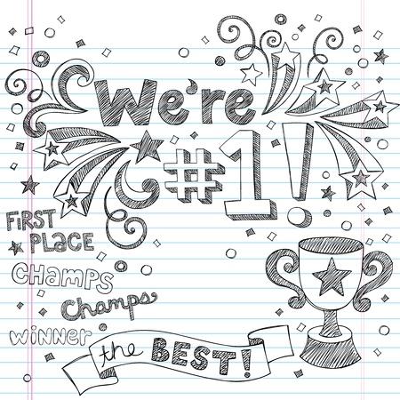 numero uno: Sport Trophy Winner-Siamo nuovamente Number One Torna a scuola Sketchy Notebook Doodles elementi Illustrazione-Vector Design su sfondo foderato di carta Sketchbook