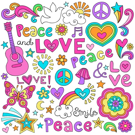 Peace Love and Music Flower Power Groovy Psychedelic Notebook Doodles Set with Peace Signs, Dove, Acoustic Guitar Vector