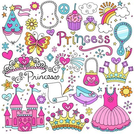 プリンセス ティアラ クラウン ノートの落書きデザイン要素セット図