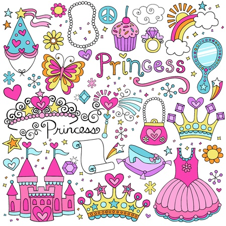Princess Tiara Crown Notebook Doodles Design Elements Set-  Illustration Vector