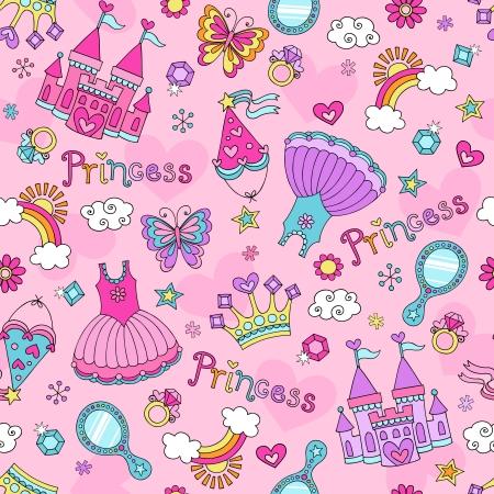 Fairytale Księżniczka Seamless Pattern z Tiara, korona, i Zamek Tutu-Sketchy Notebook Doodle Wzornictwa Design Elements Ilustracje wektorowe