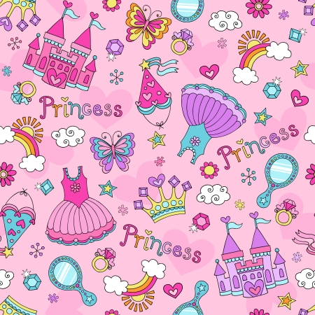 Fairytale Princess Seamless Pattern with Tiara, Crown, Castle, and Tutu- Notebook Sketchy Doodle Design Elements  Design
