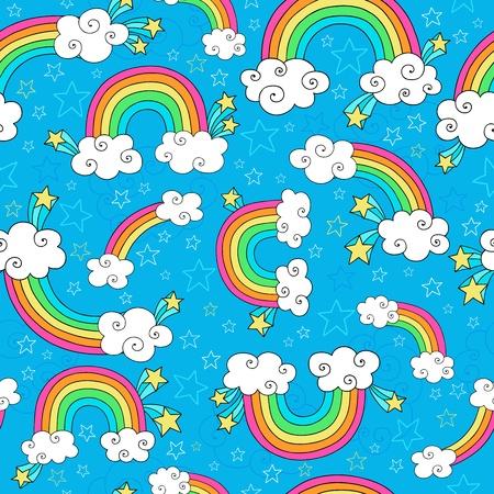 虹の空と雲シームレスなパターン-グルーヴィーなノートブックいたずら書き手描きのベクトル図の背景  イラスト・ベクター素材