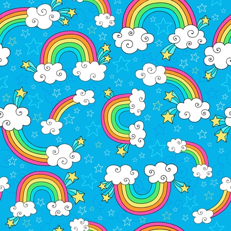 Rainbows Sky and Clouds Seamless Pattern- Groovy Notebook Doodles Hand-Drawn Vector Illustration Background Vettoriali
