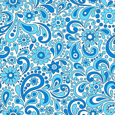 ペイズリー ヘンナ一時的な刺青のエレガントな花と渦巻き落書きシームレス パターン手描きイラスト