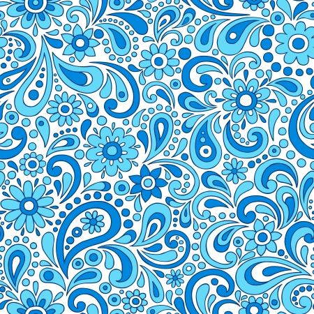 Paisley Henna Mehndi Elegant Flower and Swirl Doodles Seamless Pattern- Hand-Drawn Illustration Vectores