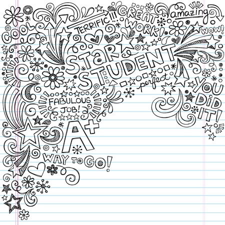 Hand-Drawn Star Student A  Scribble Inky Doodles- Back to School Notebook Doodle Design Elements on Lined Sketchbook Paper  Illustration