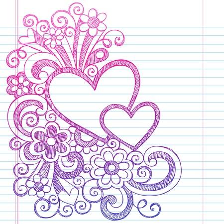 Love Hearts Frame Border Terug naar School schetsmatig Notebook Doodles-Illustration Design op Lined Sketchbook Paper achtergrond