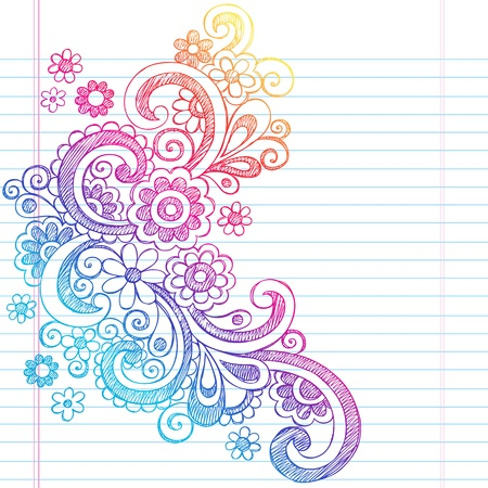 Flower Power Back to School Sketchy Notebook Doodles-Illustration Design on Lined Sketchbook Paper Background  Vector