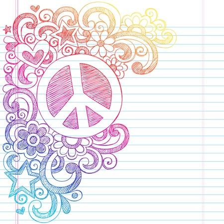 Peace Sign and Love Psychedelic Back to School Sketchy Notebook Doodles- Illustration Design on Lined Sketchbook Paper Background  Vector