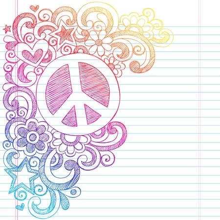 the peace: Signo de la paz y del amor psicod�lico Back to School Notebook Sketchy Doodles-Illustration Design en el fondo forrado de papel Sketchbook Vectores
