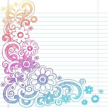 Springtime Flower Power and Butterflies Back to School Sketchy Notebook Doodles-  Illustration Design on Lined Sketchbook Paper Background  Vector