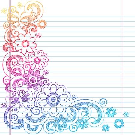 Springtime Flower Power and Butterflies Back to School Sketchy Notebook Doodles-  Illustration Design on Lined Sketchbook Paper Background  Vectores
