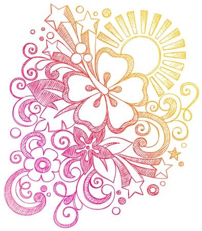 tween: Hibiscus Tropical Summer Sunset Vacation Sketchy Notebook Doodles Illustration on Lined Sketchbook Paper Background  Illustration
