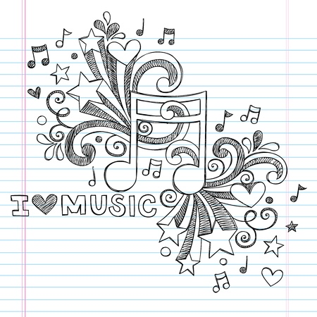 음악 주 나는 학교 스케치 노트북에 음악 위로 줄 지어 스케치 북 종이 배경에 그림 디자인 요소를 낙서 - 손으로 그린 사랑