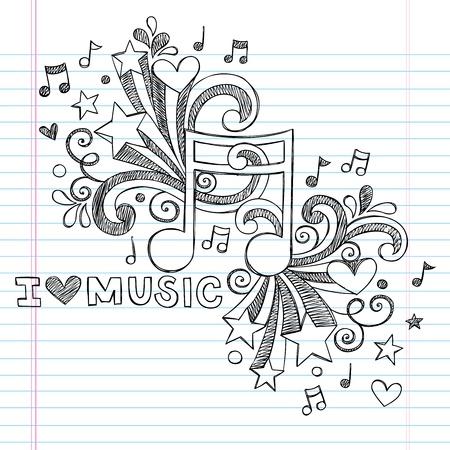 notes de musique: Note de musique J'aime la musique Retour � l'�cole Sketchy Notebook Doodles-Hand-Drawn Design Elements Illustration sur fond Sketchbook doubl�e de papier