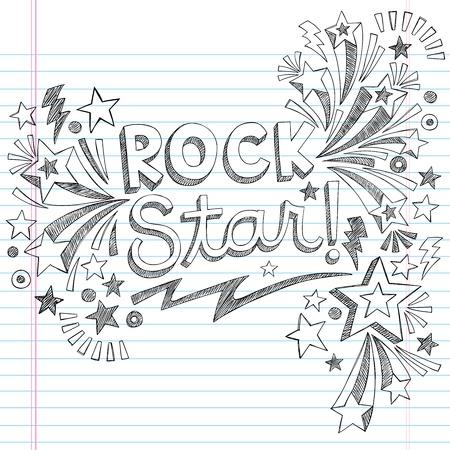 ロック スター音楽学校大ざっぱなノートに落書き音楽ノートとまんじ手描きイラスト デザイン素材が並ぶスケッチ ブック [背景に用紙  イラスト・ベクター素材