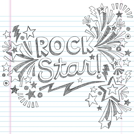 Rock Star Music Back to School Sketchy Notebook Doodles with Music Notes and Swirls- Hand-Drawn Illustration Design Elements on Lined Sketchbook Paper Background  Vector