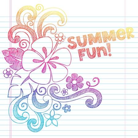 ハイビスカス夏の楽しみの熱帯休暇大ざっぱなノートの落書き並ぶスケッチ ブック用紙の背景のベクトル図  イラスト・ベクター素材