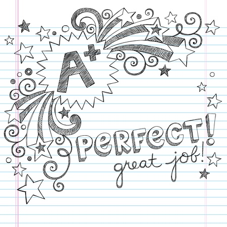 A Plus Student Great Grades Back to School Sketchy Notebook Doodles with Lettering, Shooting Stars, and Swirls- Hand-Drawn Illustration Design Elements on Lined Sketchbook Paper Background Vector